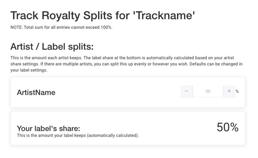 Split royalties UI detail