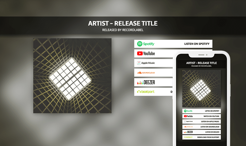 Music release landing smart page